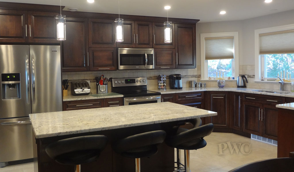 Custom kitchen stained cabinets