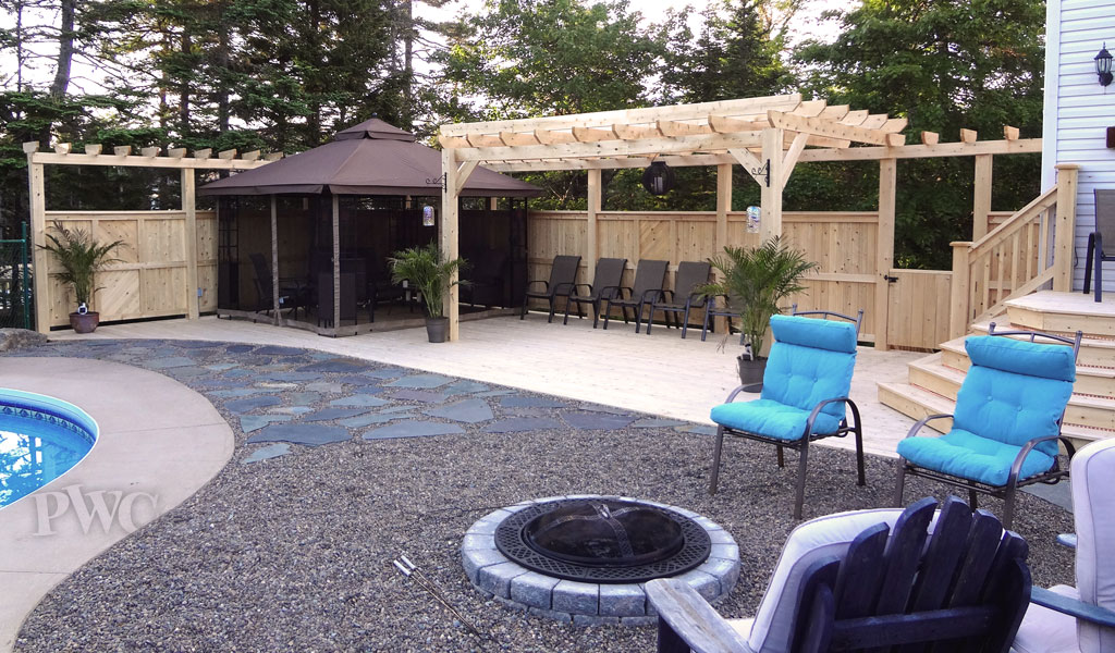Patio Deck with trellis and stonework